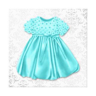 Niña azul del vestido del trullo de plata del dama lona envuelta para galerías
