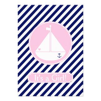 Niña azul y rosada Annuncement del velero