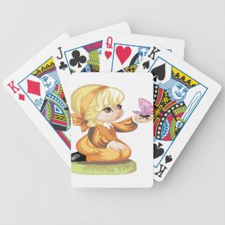 Niña cabelluda rubia baraja cartas de poker