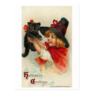 Niña con el gatito negro tarjetas postales