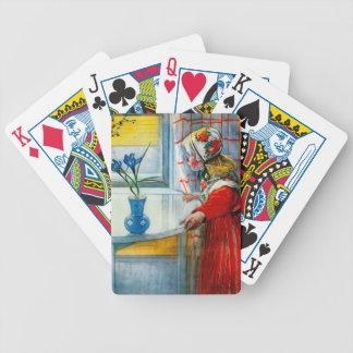 Niña con el iris azul baraja de cartas