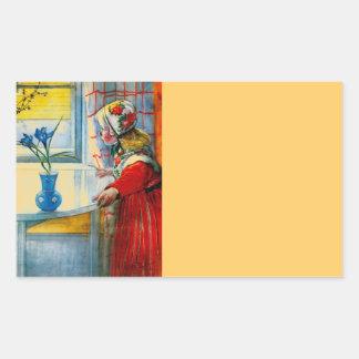 Niña con el iris azul pegatina rectangular