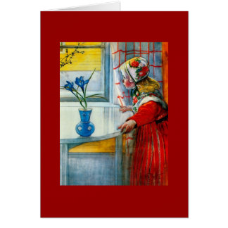Niña con el iris azul tarjeta de felicitación