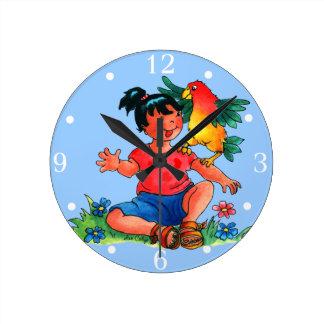 Niña con el loro - reloj de la pared de los niños