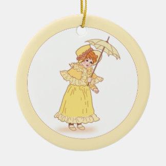 Niña con el ornamento del paraguas ornaments para arbol de navidad