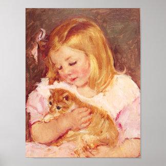 Niña con el poster del gato póster