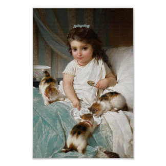 Niña con el poster del vintage de los gatitos