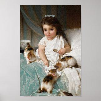 Niña con el poster del vintage de los gatitos póster