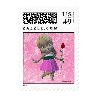 Niña con el sello color de rosa