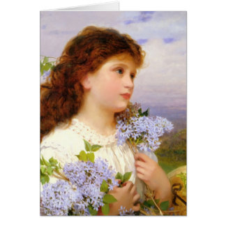 Niña con el vintage del ramo de la lila tarjeta pequeña