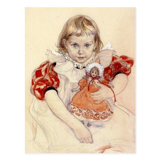 Niña con la muñeca 1897 postal