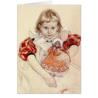 Niña con la muñeca 1897 tarjeta de felicitación