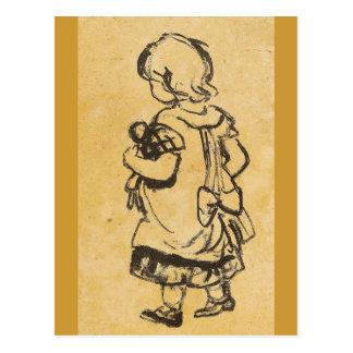Niña con la muñeca - Zille Tarjeta Postal