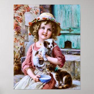 Niña con los mascotas de Emilio Vernon Impresiones
