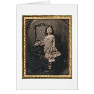Niña con una cesta de las flores (40319) tarjeta de felicitación