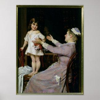 Niña con una muñeca y su enfermera, 1896 póster