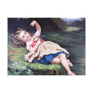 Niña con una pintura del vintage de la mariquita lona estirada galerias