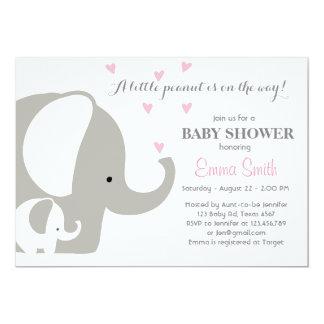 Niña de la invitación del elefante de la fiesta de