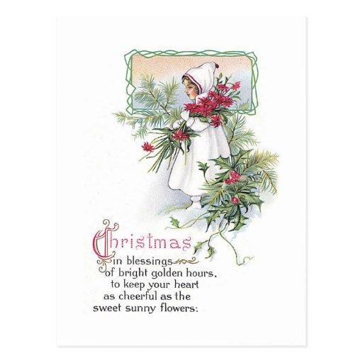 Niña de la tarjeta de Navidad del vintage con el P Tarjetas Postales