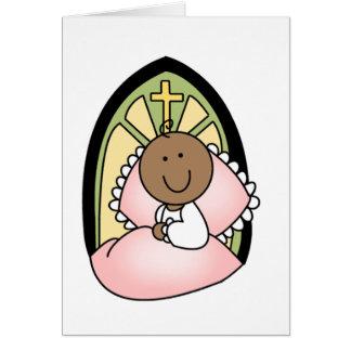 Niña del afroamericano del bautismo tarjeta de felicitación
