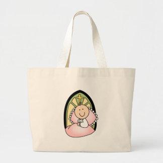 Niña del bautismo bolsa tela grande