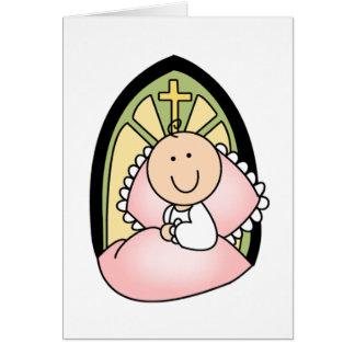 Niña del bautismo tarjeta de felicitación