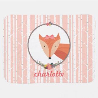 Niña del Fox personalizada Mantita Para Bebé