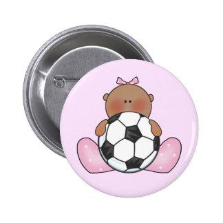 Niña del fútbol de Lil - étnica Pin Redondo 5 Cm
