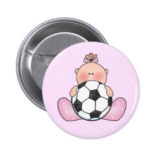 Niña del fútbol de Lil Pin Redondo 5 Cm