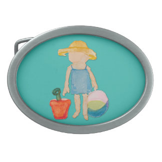 Niña del niño del azul de océano en la playa hebilla cinturon oval