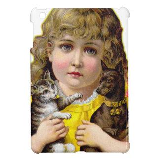 Niña del Victorian del vintage con arte del gato y