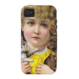 Niña del Victorian del vintage con arte del gato y iPhone 4 Fundas