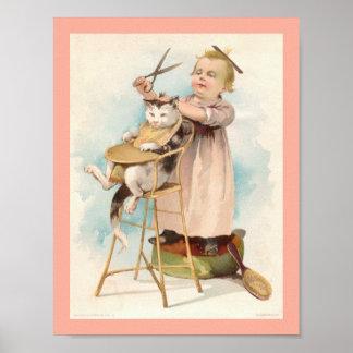 Niña del vintage 1800's que da a gato un corte de póster
