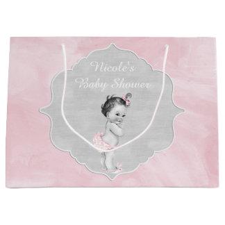 Niña del vintage del rosa en colores pastel de la bolsa de regalo grande