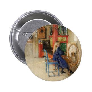 Niña del vintage en la rueda de hilado pin redondo 5 cm