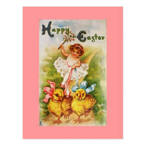 Niña del vintage y polluelos de Pascua