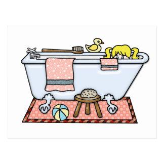 Niña en bañera postal
