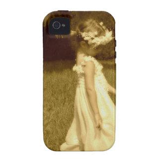 niña en el jardín romantico vintage Case-Mate iPhone 4 carcasas