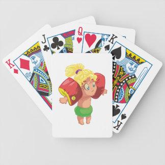 Niña en el mar cartas de juego