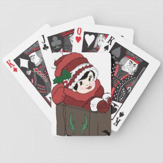 niña en gorra y trineo rojos baraja de cartas
