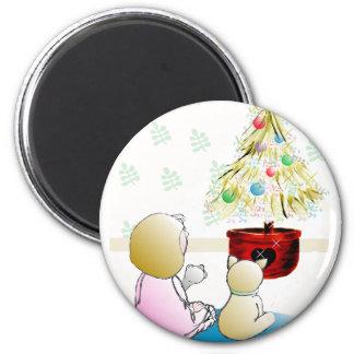 Niña en Nochebuena del camisón Imán Redondo 5 Cm
