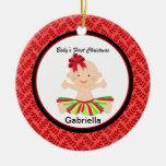 Niña en ornamento del navidad del rojo del tutú el ornamentos para reyes magos