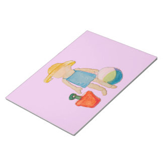 Niña en sello del rosa color de rosa del bloc de papel
