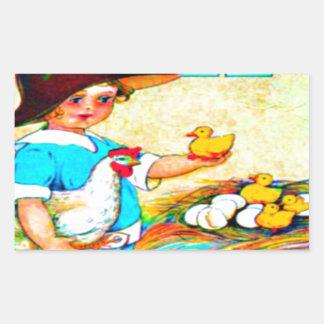 Niña en un gorra flojo con la trama de polluelos, rectangular pegatina
