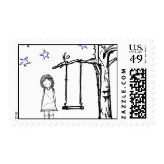 Niña estrellada sellos