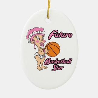 niña futura de la estrella del baloncesto adorno ovalado de cerámica