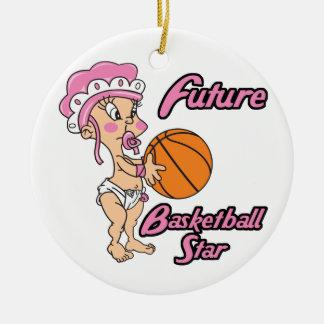 niña futura de la estrella del baloncesto adorno redondo de cerámica