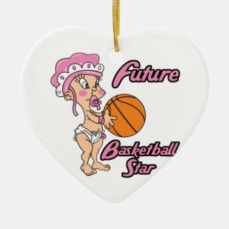 niña futura de la estrella del baloncesto adorno de cerámica en forma de corazón