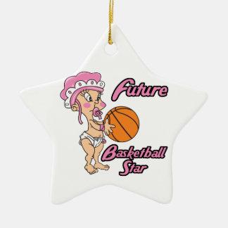 niña futura de la estrella del baloncesto adorno de cerámica en forma de estrella