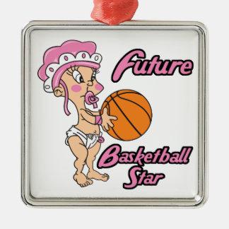 niña futura de la estrella del baloncesto adorno cuadrado plateado